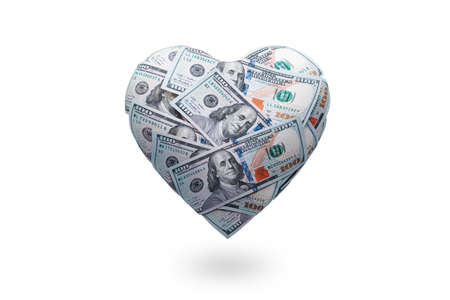 Heart shaped made with 100 dollar banknotes isolated on white. Happy Valentines day symbol. Love money concept