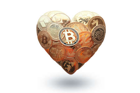Heart shaped made with cryptocurrency coins. Happy Valentines day symbol. Love bitcoin concept. Invest in bitcoin symbol. Donation, volunteer charity. Isolated in white. 版權商用圖片
