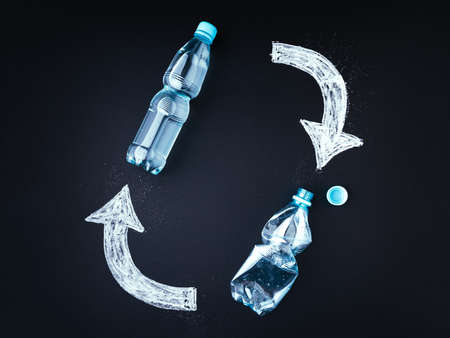 Plastic bottle recycling concept. Blackboard, plastic bottles with chalk drawed recycle symbol