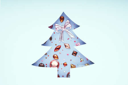 Christmas tree made of gemstone. Xmas symbol, Holiday concept. 版權商用圖片
