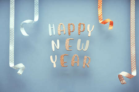 Happy New Year minimal pastel greeting card , frame, banner with holidays decorations.