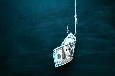 US 100 dollar bill as a bait. American currency on the hook. Investment risk or money trap, business fraud and cheating or financial pitfall and mistake concept. Copy space.