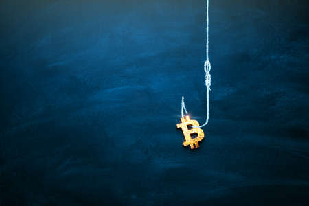 Bitcoin as a bait. Blockchain cryptocurrency trap. Free money concept. Bitcoin on the hook. Copy space. 版權商用圖片