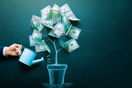 the businessman is watering money tree made by us dollar bills. Business, saving, growth, economic concept. Investors strategy, funding symbol. Copy space.