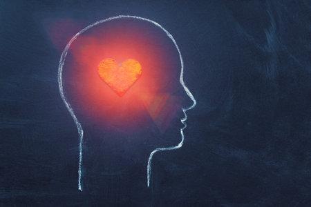 Shining Heart in human head. 版權商用圖片