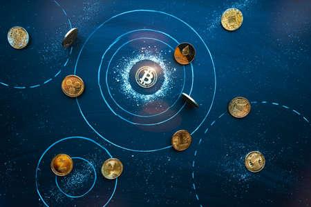 Altcoins revolve around Bitcoin in cosmos. Universe of Cryptocurrencies. Bitcoin domination symbol, market balance, teamwork, leadership concept. Network, blockchain interaction idea 版權商用圖片