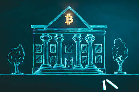 Bitcoin banking symbol. Concept of bitcoin mass adoption of hedge funds, pension funds, VC capital, financial institutions and banks. Government regulations 版權商用圖片