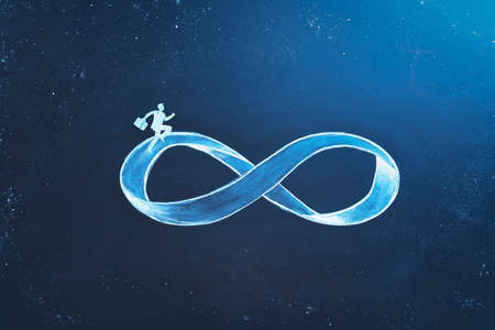 Business concept of repetitive work and burnout syndrome. A businessman running on infinity symbol in space. Nonstop hard work symbol.