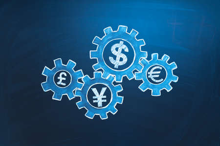 Global economics symbol. Currencys in gears. Stock market exchange and forex concept. Economics financial management, team work, money working idea