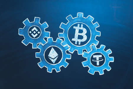 Cryptocurrency economics symbol. Altcoins in gears. Crypto market exchange concept. Investing in cryptocurrency idea 版權商用圖片