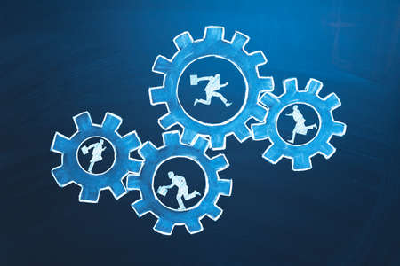 Teamwork business concept. Businessmens running in gears. Idea of partnership, cooperation, team work. Metaphor for joining a partnership as diverse gears connected together as a corporate symbol