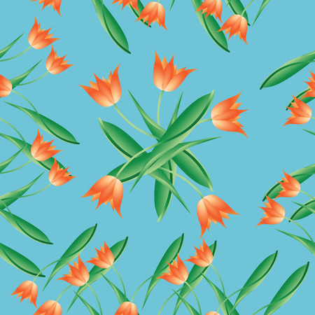Red tulips on blue. Seamless pattern. Design for fabric, tapestry, packaging materials, background for website.