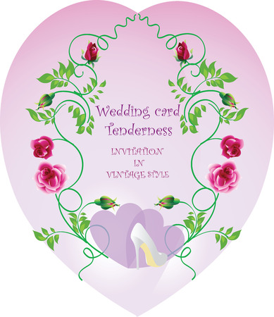 tenderness: Wedding card Tenderness. Vector image of vintage style.Wedding card, web, banner, poster, flyer, brochure.