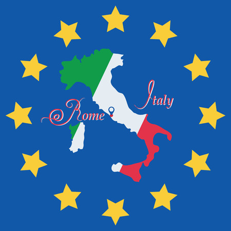leaflets: Italy. Symbol. Map. Vector image. The development of a logo, sign to illustrate books, brochures, leaflets, use on websites, Souvenirs and maps. Illustration
