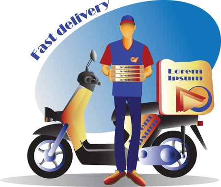 Courier and Scooter. Fast delivery. Scooter, Motorcycle. Service, order. Worldwide Shipping, Fast and Free Transport. Food delivery design, vector illustration. Illustration