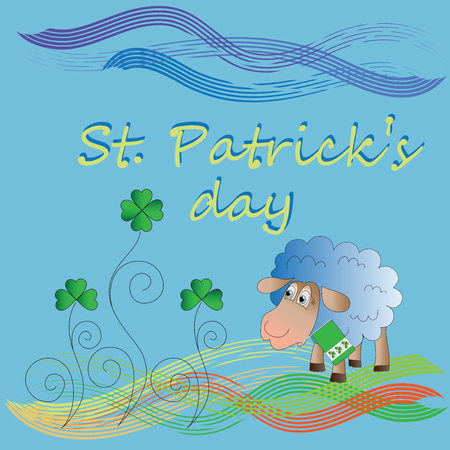 Clover and lamb with a flag. St.Patrick s Day. Vector Image. Design for a holiday greeting card, greetings, greetings, thematic illustrations.