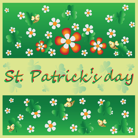Decorative flowers, clover and a bee. St.Patrick 's Day. Vector Image. Design for greeting card, greetings, greetings, thematic illustrations. Çizim
