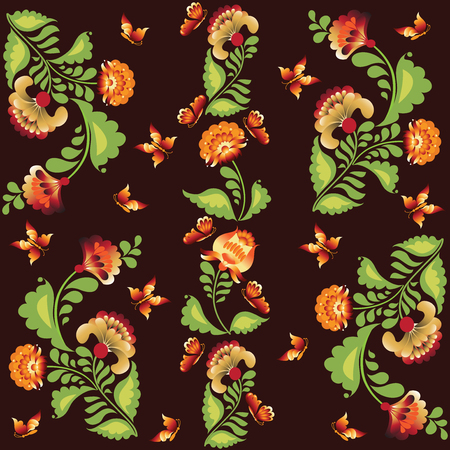 petrikov painting: Bright butterflies and flowers on a dark background. The pattern in the square. The composition in folk style. Petrykivka.