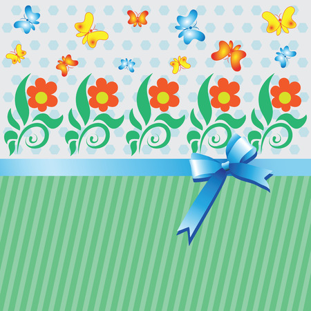 Lawn with flowers and butterflies.The background is striped with satin ribbon and bow. Illustration