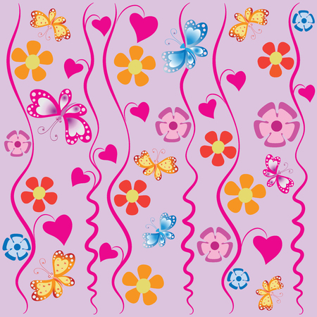 Bindweed, butterflies and flowers. Composition on a pink background. Design for textiles, tapestries, packaging materials, baby products.