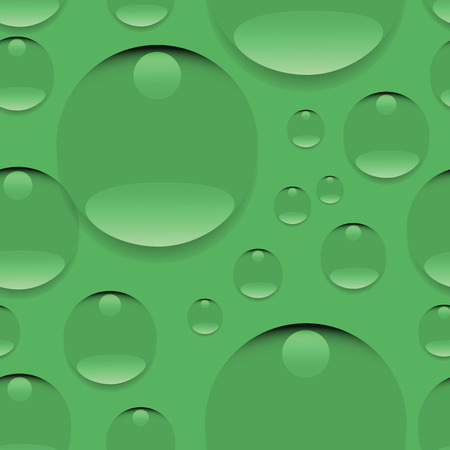 Dew on a green background. Seamless pattern. Realistic pure water, isolated transparent drops. Design for website background, textile, tapestries, packaging materials, environmental posters. Illustration