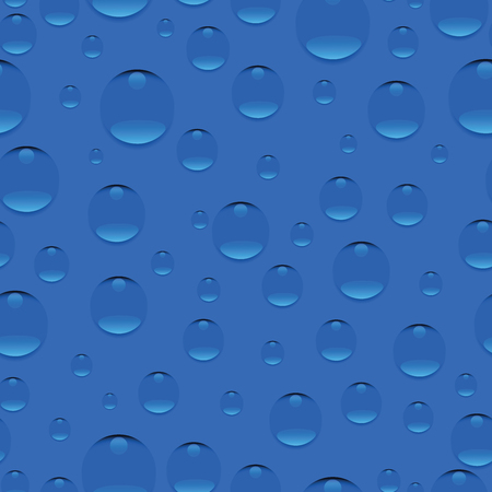 morning dew: Droplets on blue background. Seamless pattern. Realistic pure water, isolated transparent drops. Design for website background, fabric, tapestries, packaging materials, environmental posters Illustration