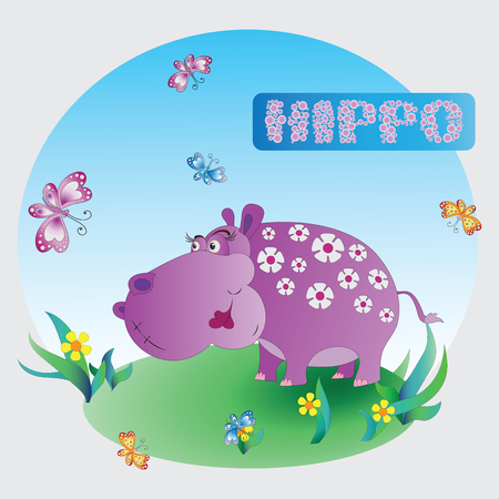 Fun pink Hippo. Zoo. A childs drawing. Pink Hippo. Cartoon characters. Design for pattern, textiles, childrens books, the background image.