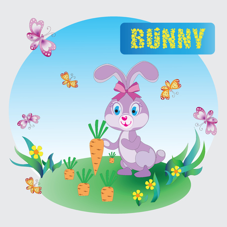 Funny pink Bunny. Zoo. A childs drawing. The cartoon characters. Design for sample, emblems, childrens books, the background image. Illustration