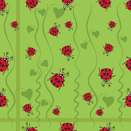 Stylized images of ladybugs and convolvulus, the character for kids cartoons.