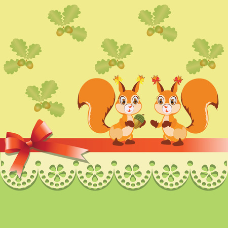 Girlfriends squirrels and acorns. Vintage background with lace edging and a satin ribbon with a bow. Invitations, greeting cards. Packaging design of goods for children. Vector image.