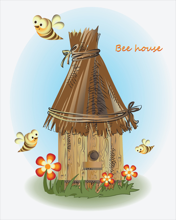 Bees, beehive and flowers. Vector image. Design for childrens books, textiles, poster.