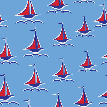 Scarlet sails. Yacht. Seamless pattern. Stylized sailboat on the waves. Design for textiles, wall hangings, wrapping paper, childrens goods.