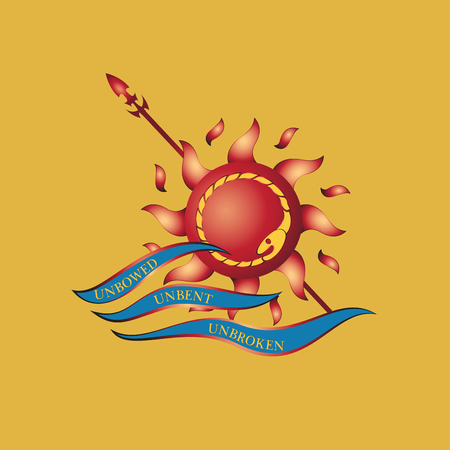 Sun, spear and waves.Decals, emblems. Vector image. Print design on fabric, paper.