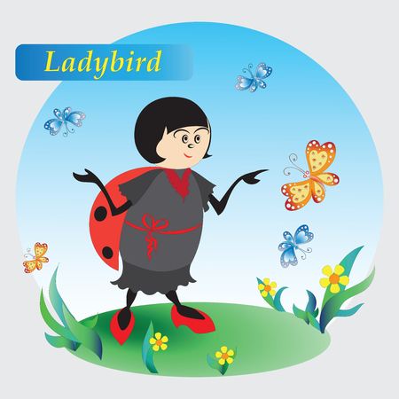Ladybird, flowers and butterflies. Drawing for kids. Nature. The cartoon characters. Design for banner, poster, childrens goods, textiles, emblems, books, and pattern image.