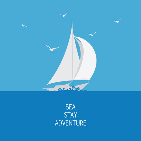 Sea, sailboat and seagulls. Emblem, logo, icon. Stylized sailboat on the waves. Design for banner, poster, printing on fabric and paper.