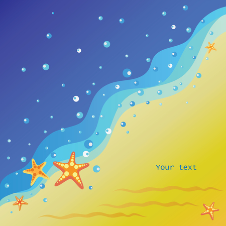 Starfishes on the seashore. Vector image. Yellow-orange background of the coast with water drops. Banner design, poster with place for text. Ilustração