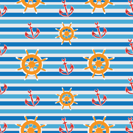 Wheel and anchor of the ship. Striped background. Seamless pattern. Design for textiles, tapestries, paper packaging, goods for children.