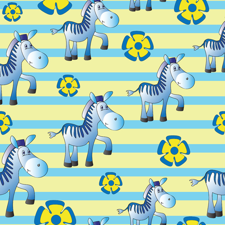 Seamless pattern with zebras and blue flowers on a striped background.