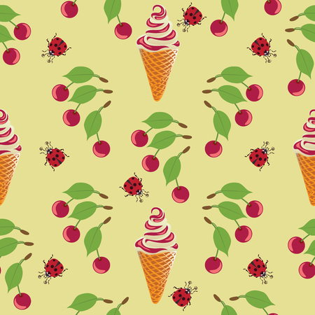 Ice cream, ladybug and cherry. Seamless pattern on yellow background. Design for textiles, tapestries, packaging, bags, goods for children. Illustration