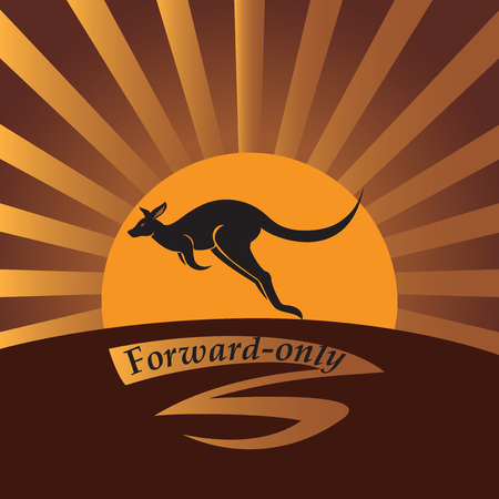 Kangaroo on a background a sun. Vector image. Emblem, icon. Design for banner, poster, illustratie book, to print on fabric or paper. Illustration