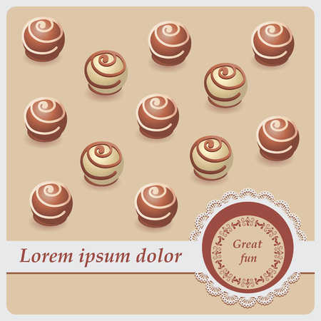 Chocolate candies. Great fun. Vector image. Beige background. Design with a lace cloth wrapping, greeting, greetings, print on fabric or paper.