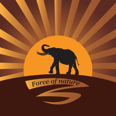 Elephant on a background a sun. Vector image. Logo, icon. Design for banner, poster, illustratie book, print on fabric or paper. Illustration