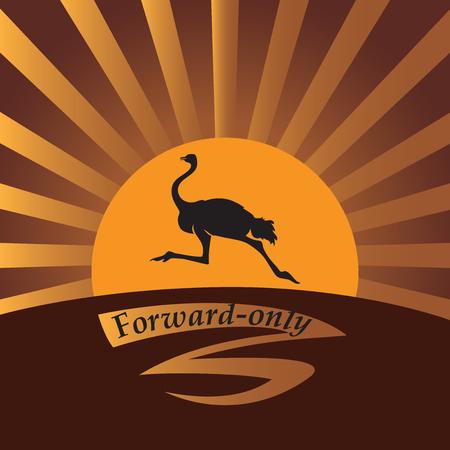 Autruche au soleil. Image vectorielle Logo, icône Conception de bannière, affiche, livre illustratie, impression sur tissu ou papier. Banque d'images - 77470527