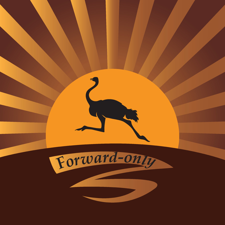 Ostrich in the sun. Vector image. Logo, icon. Design for banner, poster, illustratie book, print on fabric or paper. Illustration