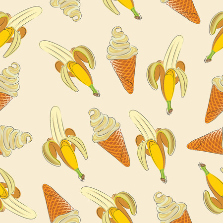 Fresh bananas and ice cream. Seamless vector pattern on light background. Tropical fruit and dessert. Design for printing on fabric or paper.
