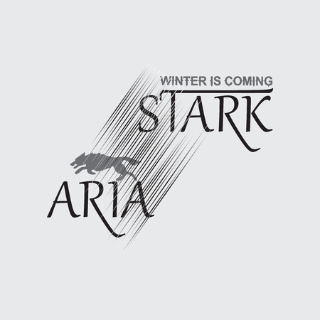 aria: Gray wolf on a white background and text. The Inscription Aria Stark. Emblem. Sticker. Graphic design element-typography for textiles, printing on fabric or paper.