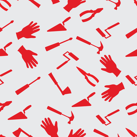 Hand tool work. Seamless pattern. Red hammer, ax, screwdriver, pliers, trowel, roller, gloves on a white background. Design for textiles, packaging materials. Vector image. Illustration