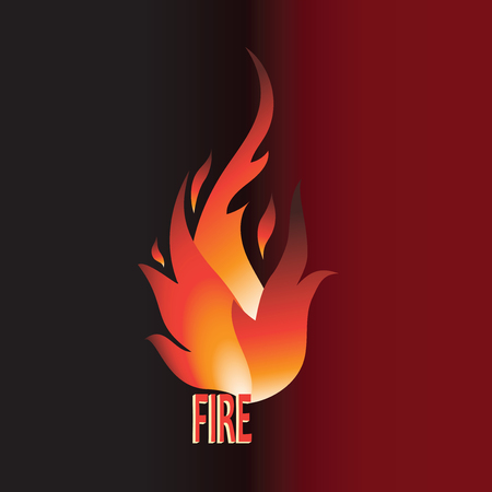 Burning word FIRE. Vector. Emblem, logo, label, sticker on a black background with the inscription FIRE. Illustration