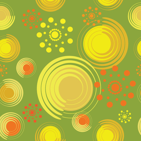 lace pattern: Abstract flowers from spirals and circles. Warm green background. Illustration