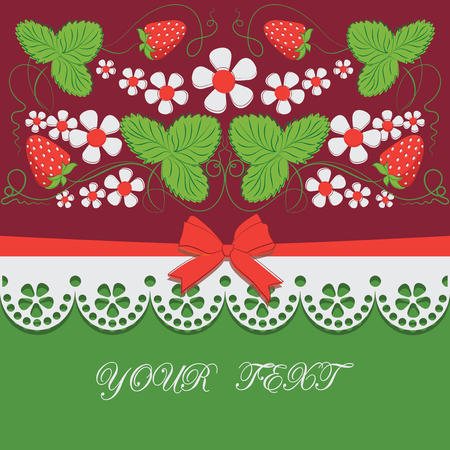 Berries of strawberries, flowers and lace.Claret background. Decorative composition with bows, ribbons and place for text, for packing products, market of farmers, food, childrens goods. Çizim